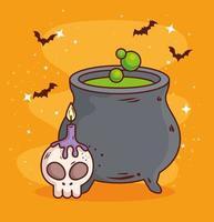 felice halloween, calderone con teschio e candela