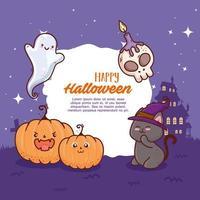 felice banner di halloween e simpatici personaggi vettore