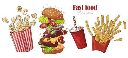 hamburger fast food, patatine fritte, popcorn, set di bevande vettore