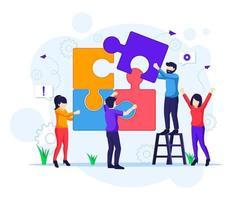 concetto di lavoro di squadra, persone che collegano elementi del puzzle pezzo vettore