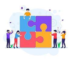 concetto di lavoro di squadra, persone che collegano elementi del puzzle pezzo. vettore