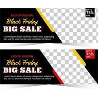 banner design per la stagione del venerdì nero con spazio per foto vettore
