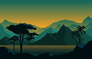 calma di sera nell'illustrazione del paesaggio della foresta della montagna vettore