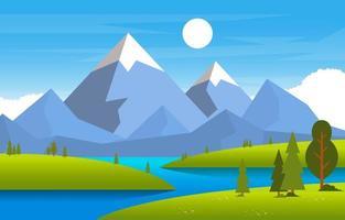 scena estiva con illustrazione di fiume, campo e montagne vettore