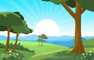 scena estiva con montagne, alberi e illustrazione del sole vettore
