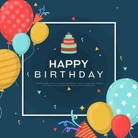 carta di buon compleanno con palloncini e coriandoli vettore