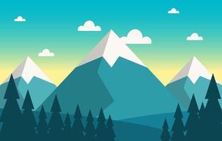 illustrazione calma della scena della natura della foresta della montagna vettore