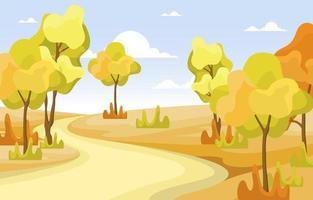 scena del parco autunno dorato con alberi vettore