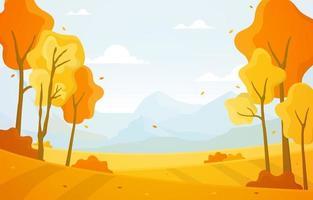 scena del parco in autunno con alberi e montagne vettore