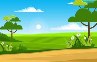 scena estiva con campo verde e illustrazione del cielo blu vettore