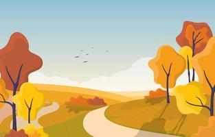 scena del parco in autunno con alberi e percorso vettore