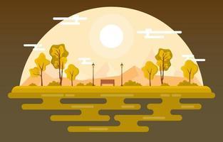 scena del parco in autunno con alberi e panchina vettore