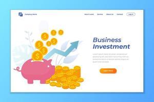 disegno vettoriale di pagina di destinazione aziendale. business crescere disegno vettoriale pagina di destinazione degli investimenti