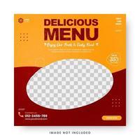 banner di menu di cibo post sui social media vettore
