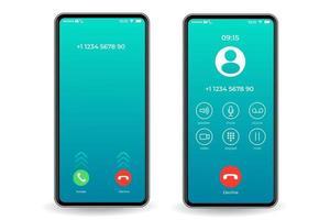 modello di interfaccia per smartphone schermata di chiamata vettore
