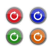 pulsante di ricarica impostato su sfondo bianco vettore