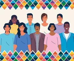 banner del mese del patrimonio ispanico nazionale con un gruppo multietnico di persone vettore