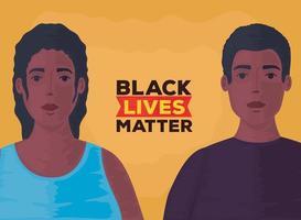 nero vive materia banner con coppia, fermare il concetto di razzismo vettore