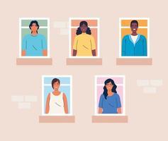 persone multietniche che guardano fuori dalle finestre, diversità e concetto di multiculturalismo vettore