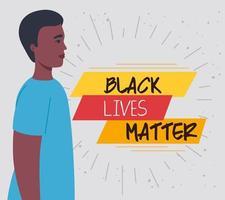 nero vive materia banner con l'uomo, fermare il concetto di razzismo vettore