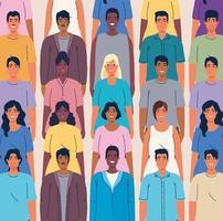 affollano le persone insieme, la diversità e il concetto di multiculturalismo vettore