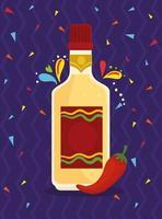 bottiglia di tequila con peperoncino vettore