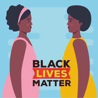 nero vive materia banner con le donne, fermare il concetto di razzismo vettore