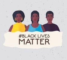 le vite nere contano banner con persone, fermare il concetto di razzismo vettore