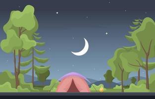 tenda da campeggio e falò nella foresta di notte vettore