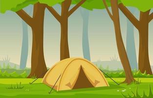 tenda da campeggio nella foresta vettore