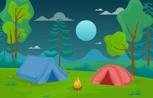 tende da campeggio e falò nella foresta di notte vettore
