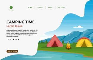 pagina di destinazione con tende da campeggio vicino a un fiume vettore