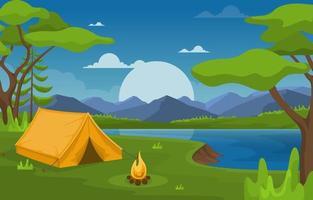 tenda da campeggio e falò sul fiume di notte vettore