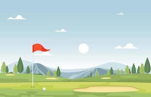 campo da golf con bandiera rossa, alberi e montagne vettore