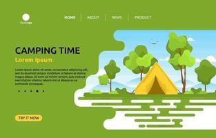 modello di pagina di destinazione con tenda da campeggio in collina vettore