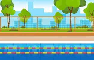 piscina all'aperto con recinzione e alberi vettore