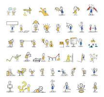 set di figure stilizzate. vita lavorativa, vita quotidiana. vettore