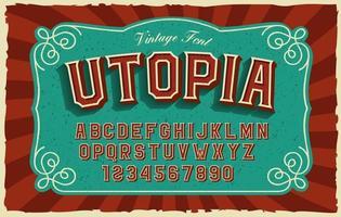 un carattere sans-serif in grassetto in stile vintage vettore