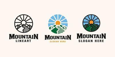 modello di logo emblema avventura di montagna vettore