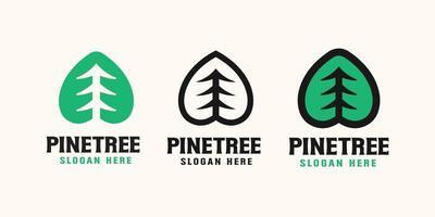 disegno del modello di logo albero di pino, illustrazione vettoriale