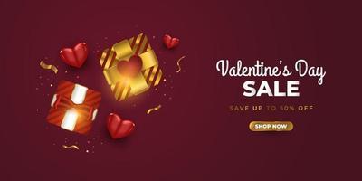 banner di vendita di San Valentino con scatole regalo realistiche, cuori rossi e coriandoli glitter oro su sfondo rosso. promozione e modello di acquisto per la celebrazione di San Valentino vettore