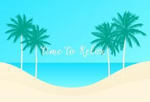 tempo per rilassarsi, palme e spiaggia, scene.eps vettoriali