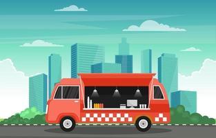 camion di cibo sulla strada della città vettore