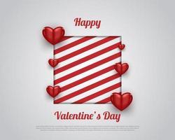 felice banner o poster di San Valentino con strisce rosse e cuore rosso su sfondo bianco. sfondo romantico con oggetti decorativi 3d. illustrazione vettoriale