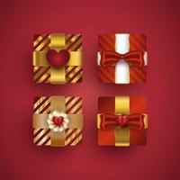 set di scatole regalo. confezione regalo di lusso realistica per regali o decorazioni di San Valentino dalla vista dall'alto vettore