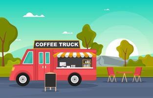 camion di cibo di caffè sulla strada vettore