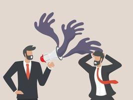 stress sul posto di lavoro, i dipendenti sono spaventati dal carico di lavoro dei leader aziendali. vettore