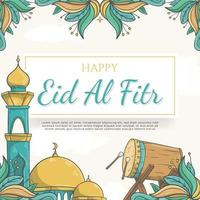 sfondo disegnato a mano eid al fitr con ornamento islamico vettore