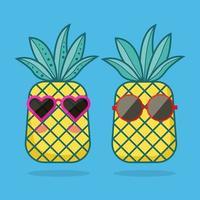 personaggi di ananas con illustrazione di occhiali da sole vettore