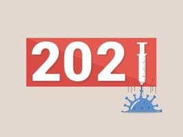 2021 anno. vaccino covid-19, la speranza di ricevere un vaccino entro il 2021. finire la pandemia covid nel 2021. vaccino contro la pandemia di coronavirus. vettore